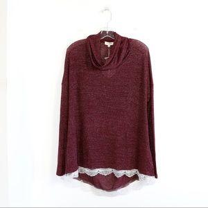 NWT Umgee striped maroon silver burgundy tunic top